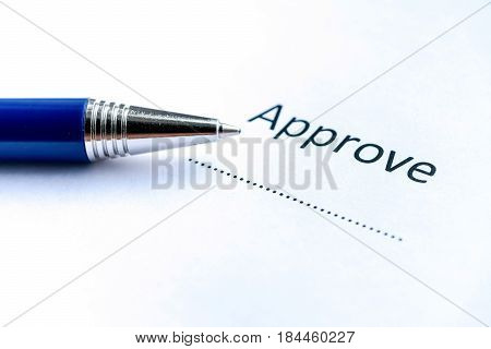 Approve Stamp With Pen On White Paper