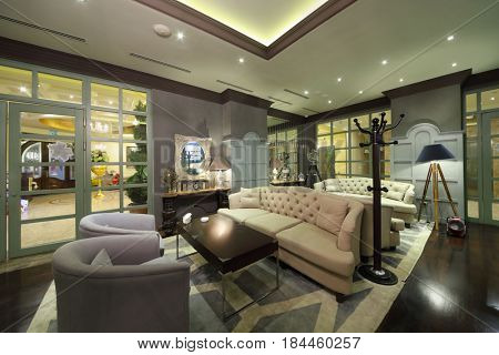 YEREVAN, ARMENIA - JAN 6, 2017: Sofas in empty restaurant in Hotel National, created in business style, comfortable hotel allows every guest to feel welcome