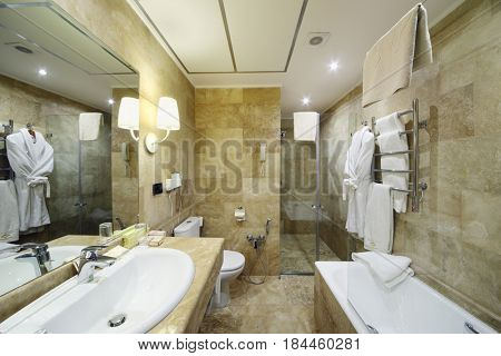 YEREVAN, ARMENIA - JAN 4, 2017: Bathroom in Hotel National, Created in a business style, the comfortable hotel allows every guest to feel welcome