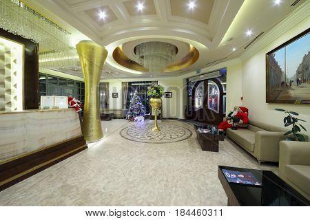 YEREVAN, ARMENIA - JAN 6, 2017: Reception in Hotel National, it is modern hotel, member of Luxury Group