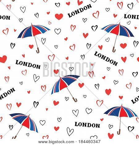 Travel London seamless pattern with love hearts and umbrella. British fashion wallpaper. European vacation background