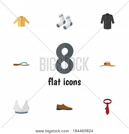 Flat Dress Set Of Elegant Headgear, Uniform, Foot Textile And Other Vector Objects. Also Includes Headgear, Flop, Hat Elements.