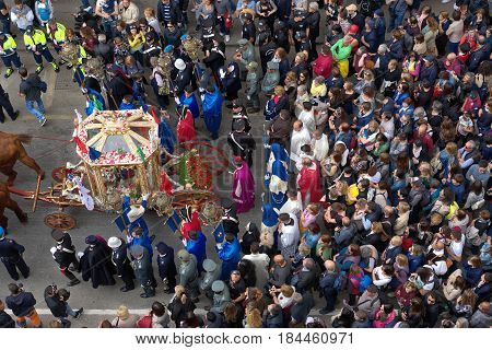 Cagliari Italy - May 1, 2017: religious procession of Sant'Efisio - Sardinia - Parade of sardinian traditional costumes. Pilgrims from above.