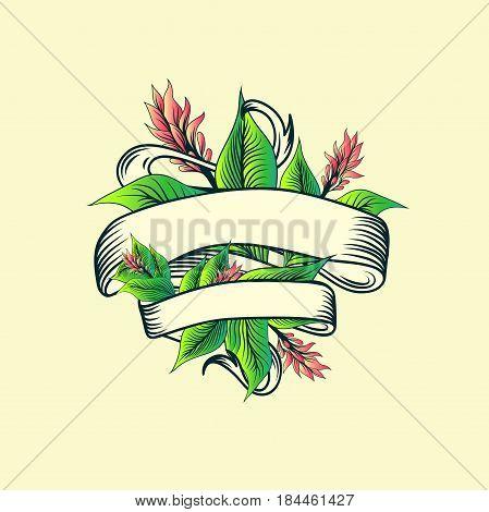 Vintage Ribbon With Copyspace Tropic Turmeric Floral Design