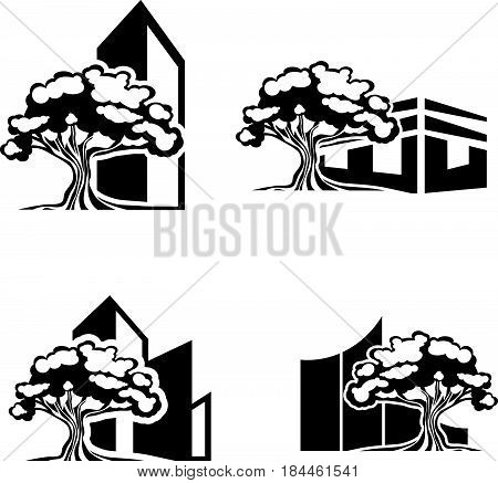 Illustration of Oak Tree Realty Logo Collection