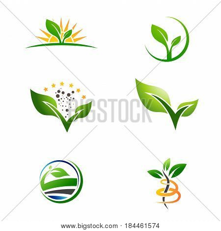 Agriculture Farm Natural Plant Grow Logo Collection