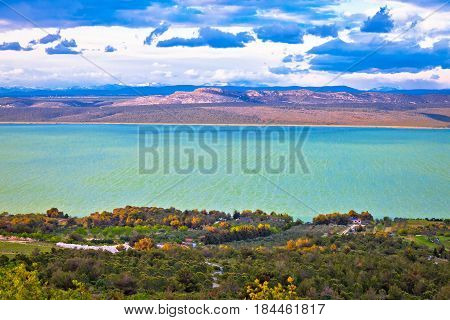 Vransko Lake And Landscape Aerial View