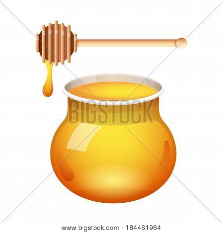 Honey glass jar vector with honey dipper isolated on white background. Fresh honey icon with a stick.