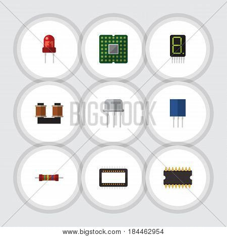 Flat Technology Set Of Coil Copper, Display, Microprocessor And Other Vector Objects. Also Includes Calculator, Display, Copper Elements.