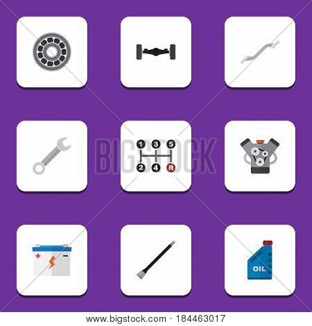 Flat Service Set Of Accumulator, Spanner, Suspension And Other Vector Objects. Also Includes Manual, Petrol, Automobile Elements.