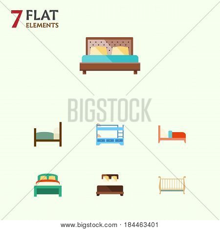 Flat  Set Of Furniture, Bed, Cot And Other Vector Objects. Also Includes Cot, Double, Bunk Elements.