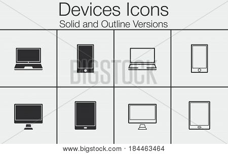 Devices Icons Set: Smartphone, Tablet, Laptop And Desktop Computer. Full And Outline Versions