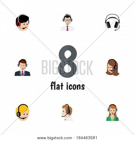 Flat Hotline Set Of Hotline, Earphone, Call Center And Other Vector Objects. Also Includes Headset, Headphone, Earphone Elements.