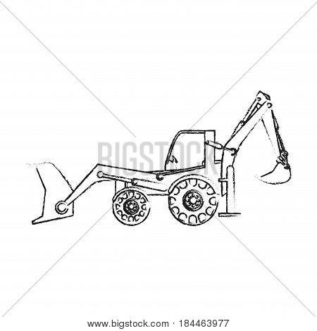 black blurred silhouette cartoon industrial machine excavator vector illustration