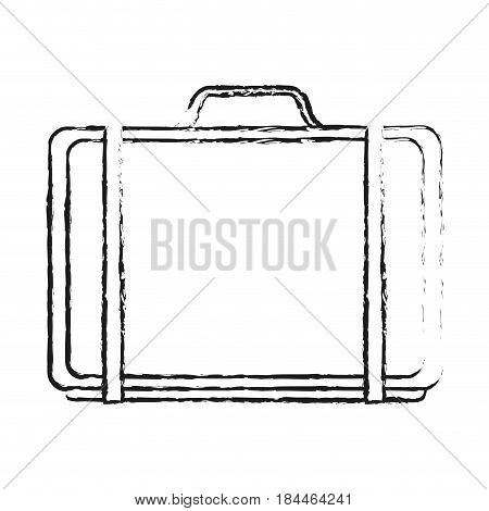 black blurred silhouette cartoon travel briefcase with handle vector illustration