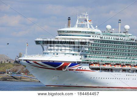 IJmuiden the Netherlands -April 29th 2017: Ventura P & O Cruises near North Sea gateway