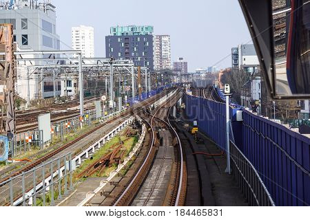 LONDON , England , 1 April 2017 :Tower Gateway Station. DLR Line. A light metropolitan area serve the rebuilt of the harbor area in the east of London. It was opened on 31 August 1987