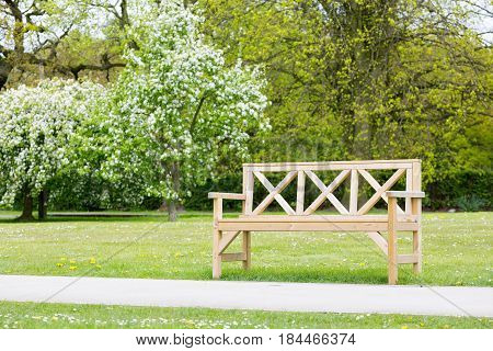 Wooden park bench close to a footpath