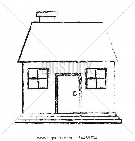 black blurred silhouette cartoon facade confortable house with chimney vector illustration