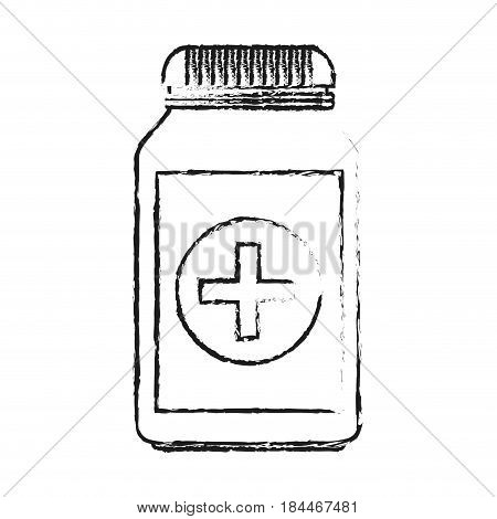 black blurred silhouette cartoon remedy bottle with lid and label vector illustration