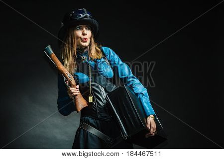 Vintage Girl With Gun.