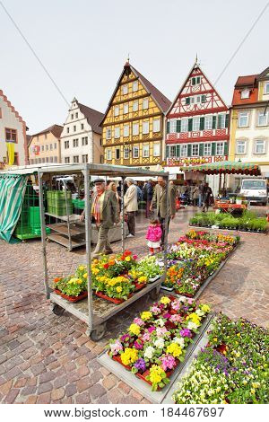 Bad Mergentheim, Germany - April 23, 2013: Market place of Bad Mergentheim town in Germany