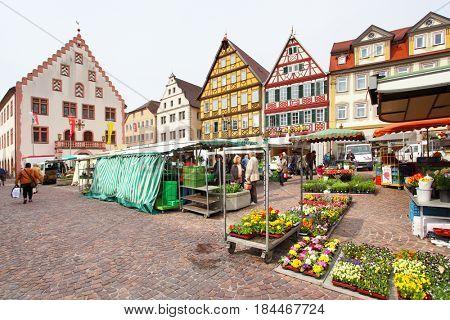 Bad Mergentheim, Germany - April 23, 2013: Marketplace of Bad Mergentheim town in Germany