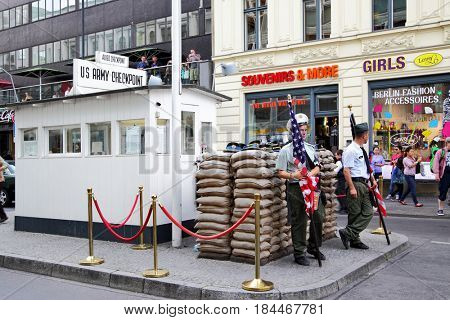 Berlin, Germany - August 22, 2012: Checkpoint Charlie.The most famous crossing point between East and West Berlin after WW2