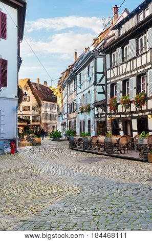 cosy street of Petit France medieval district of Strasbourg, Alsace France