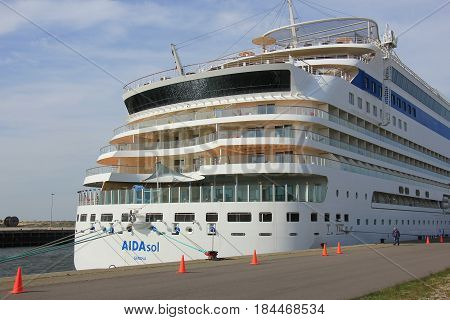 IJmuiden the Netherlands - April 30th 2017: Aida Sol docked at the Felison Cruise Terminal