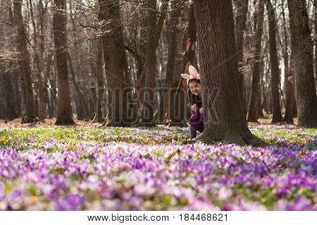 Little girl with banny ears peeping from behind a tree in the park
