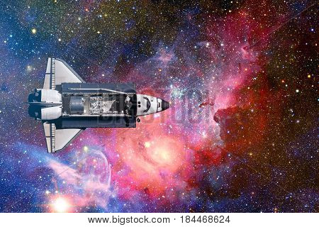 Space Shuttle Flight Over Space Stars, Galaxies And Nebula.