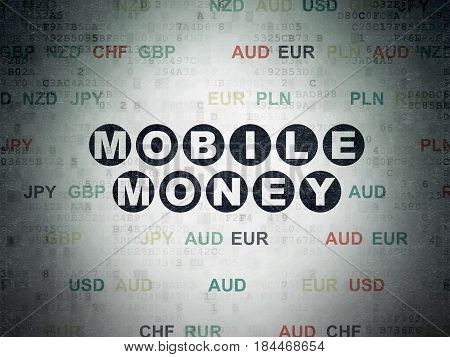 Currency concept: Painted black text Mobile Money on Digital Data Paper background with Currency