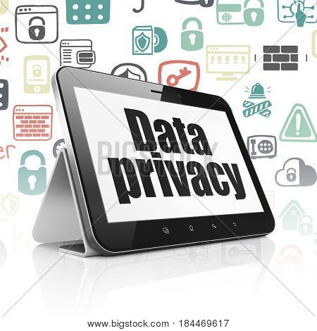 Privacy concept: Tablet Computer with  black text Data Privacy on display,  Hand Drawn Security Icons background, 3D rendering