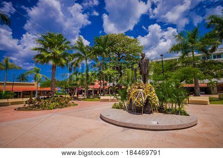 COZUMEL, MEXICO - MARCH 23, 2017: The monument of Doctor Adolfo Rosado Salas in the main street of the town.