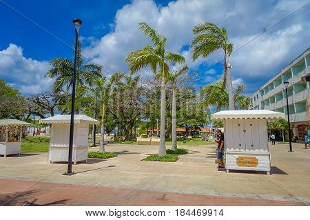 COZUMEL, MEXICO - MARCH 23, 2017: Plaza located in dowtown in the colorful Cozumel.