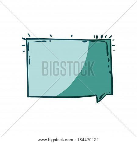 aquamarine hand drawn rectangular speech vector illustration