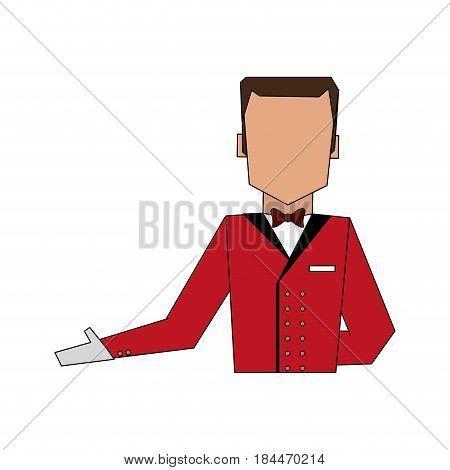 color image silhouette half body faceless bellboy with uniform vector illustration