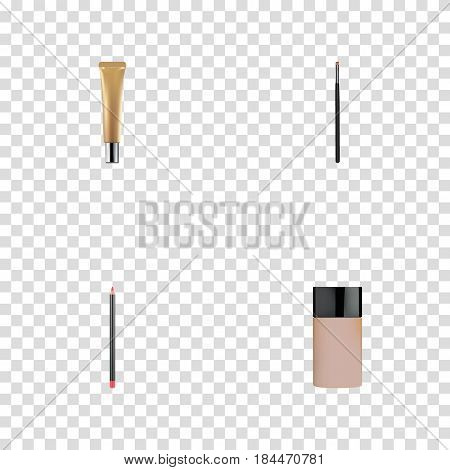 Realistic Mouth Pen, Contour Style Kit, Concealer And Other Vector Elements. Set Of Maquillage Realistic Symbols Also Includes Cream, Cosmetics, Pencil Objects.