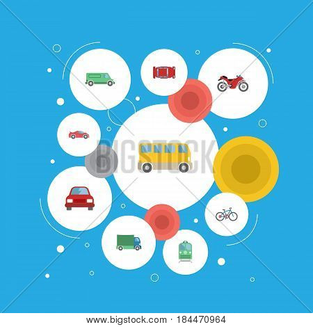 Flat Carriage, Lorry, Automobile And Other Vector Elements. Set Of Vehicle Flat Symbols Also Includes Truck, Bus, Automobile Objects.
