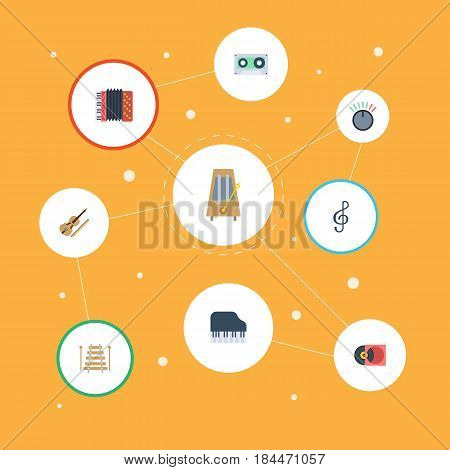 Flat Musical Instrument, Knob, Tape And Other Vector Elements. Set Of Music Flat Symbols Also Includes Percussion, Harmonica, Motion Objects.