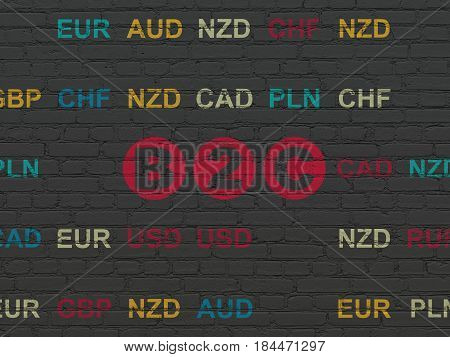 Finance concept: Painted red text B2c on Black Brick wall background with Currency