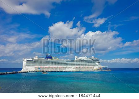 COZUMEL, MEXICO - MARCH 23, 2017: The beautiful cruise Norwegian Epic, in Cozumel Port visit the island.