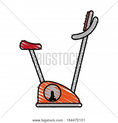 color crayon stripe image gym spinning machine for exercises vector illustration