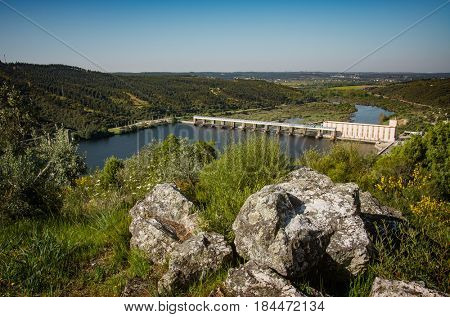 Landscape of the Tagus river and Belver dam in Portugal
