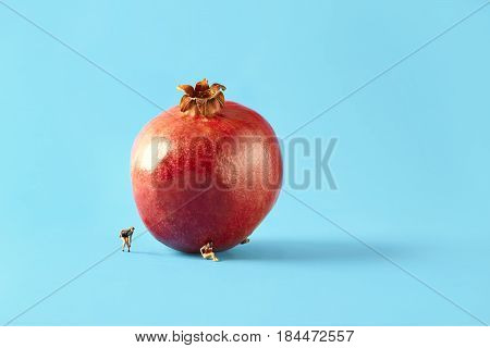 Microworld two women scale model train figures under the pomegranate on blue background. Cartoon style food photography