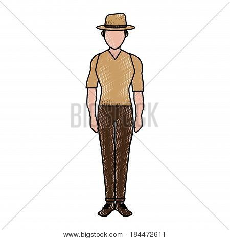 color pencil silhouette full body faceless explorer man with hat vector illustration