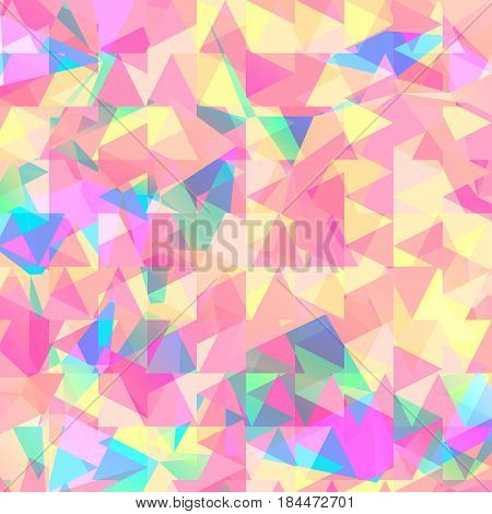 Triangle mosaic design, colorful repetition and geometry transformation, structural elements in soft gentle light, summer fabric pattern. Vector illustration