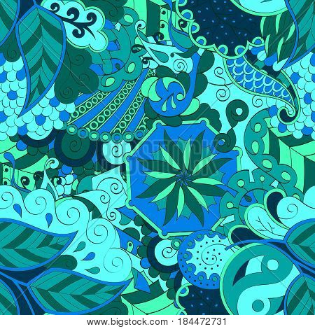 Tracery Seamless Calming Pattern. Mehendi Design. Ethnic Colorful Sea Blue Doodle Texture. Indiffere