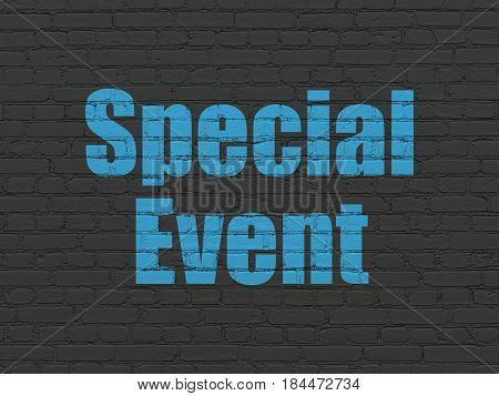Finance concept: Painted blue text Special Event on Black Brick wall background